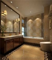 Yellow Marble Mosaic Wall Design Australian Golden Beige