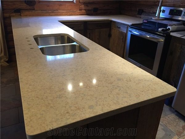 best material for kitchen countertops clothes zodiac quartz-oatmeal peninsula countertop from ...