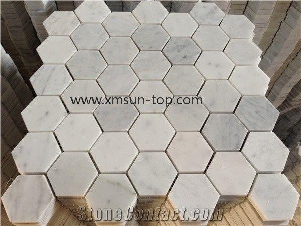 carrara white marble mosaic tiles on