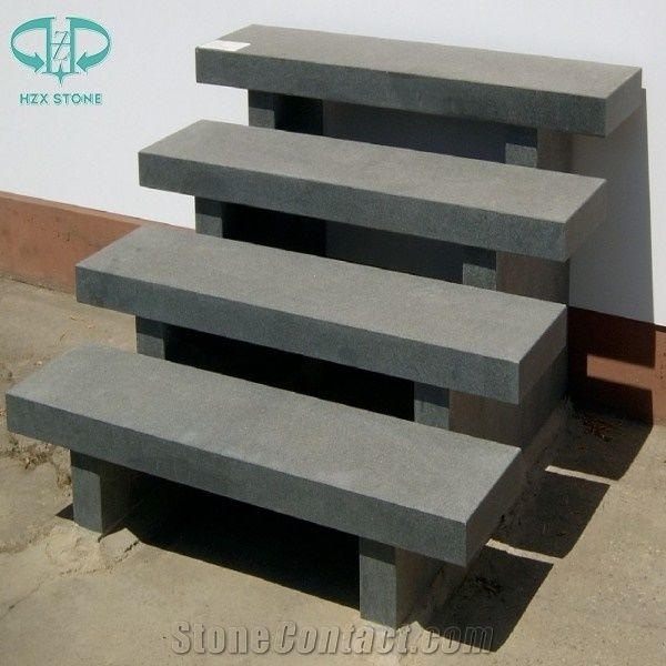 Chinese G654 Pandang Dark Grey Granite Steps Exterior Outdoor | Exterior Stone Stair Treads | Stone Slab | Grey Flagstone Step | Solid Weathered | Carpet Metal Rail Wood Cap | Brick