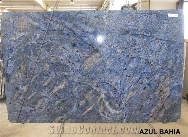 azul bahia granite slabs brazil blue