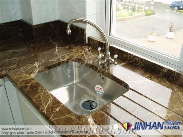 used kitchen countertops faucet sets spain emperador dark marble slabs fabricated for desk tops worktops