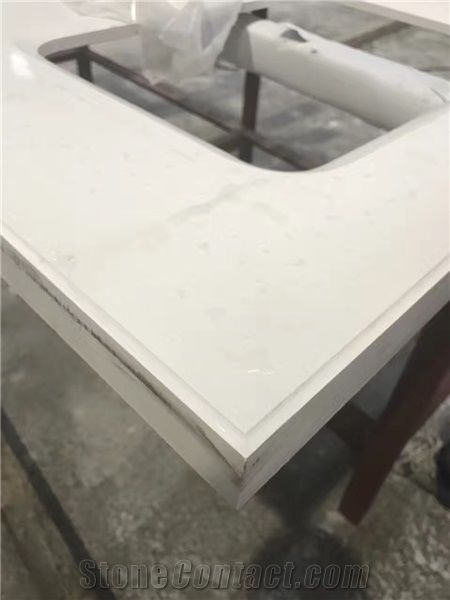 Quartz Stone Solid Surface White Color Pre Fabricated Tops