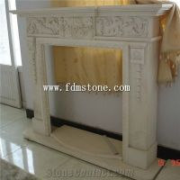 European Style Cream Marble Stone Carved Fireplaces ...
