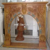 European Style Red Marble Stone Carved Flower Fireplaces ...