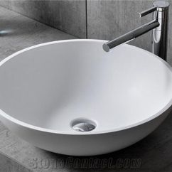 Corian Kitchen Sinks China Cabinet Acrylic Solid Surface Chinese Factory Supply Artificial Marble Stone White Color Round Sink For Sale
