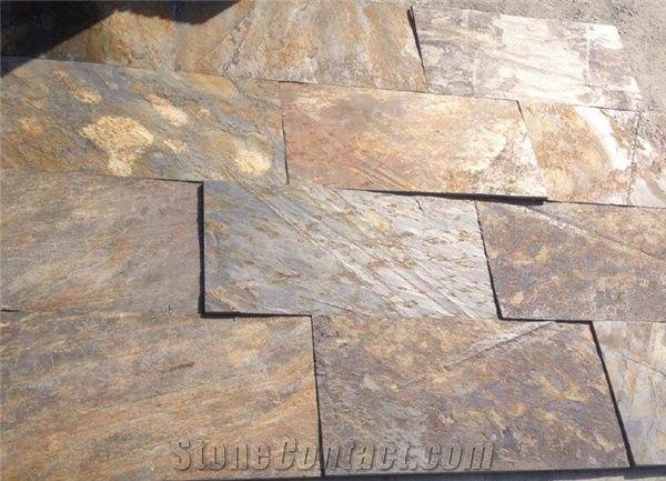 multicolor riven slate tiles rusty