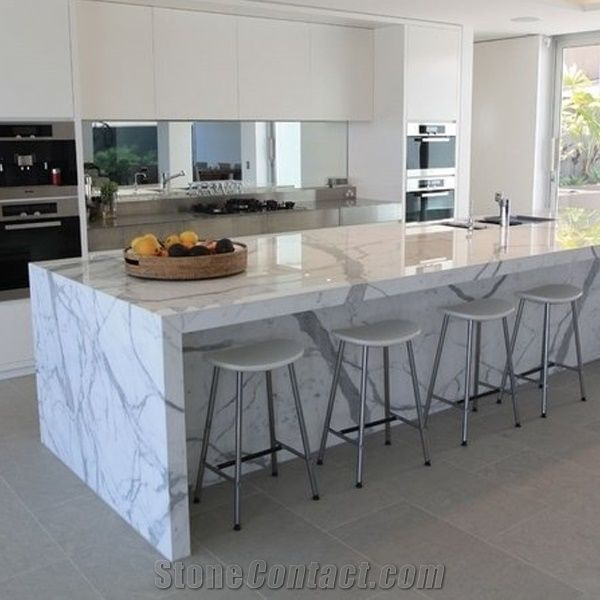kitchen tops cabinet door hinges calacatta carrara white marble counter top natural bench countertop customized