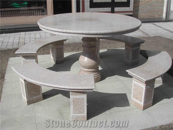 natural stone granite table benches