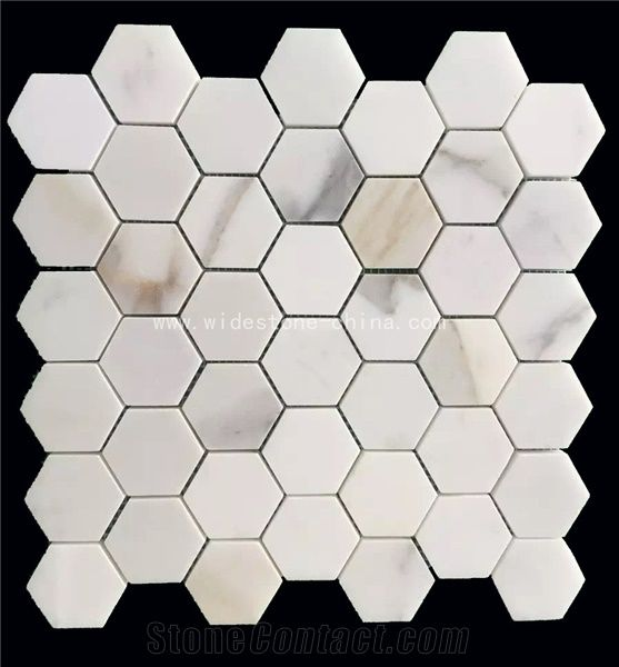 calacatta gold marble mosaic hexagon