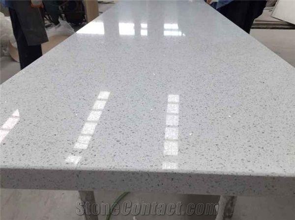 White Sparkle Quartz Stone Countertop for Kitchen Top from