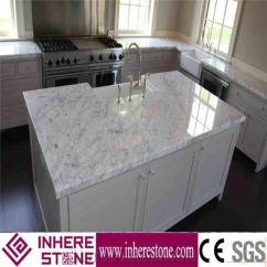 White Kitchen Bench Island Remodel Marble Top Carrara Countertop Worktops