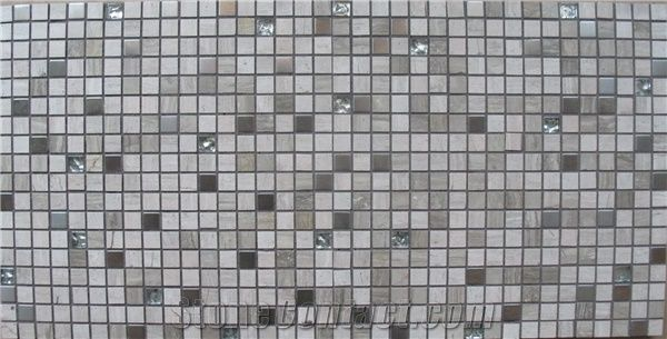 Multicolor Glass Mosaic Tile, Mixed With Ceramic Tile, All