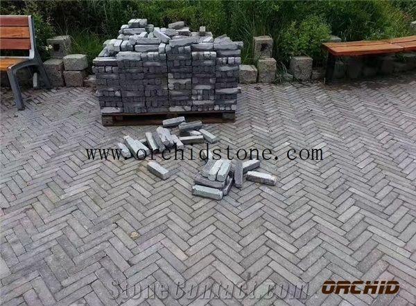tumbled grey limestone pavers cobble