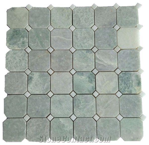 ming green stone tile octagon mosaic 2