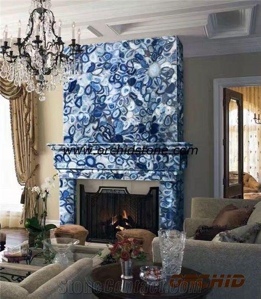 Blue Agate Semi Precious Fireplace MantelHearthSurround