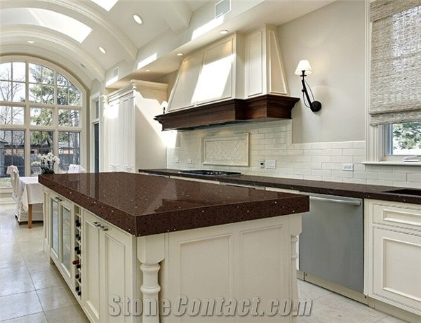kitchen countertops quartz mega system crystal dark brown surface stone tops island worktop