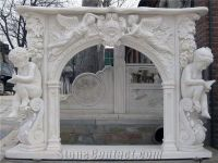 White Marble Angel Fireplace Mantel, Handcarved Human ...