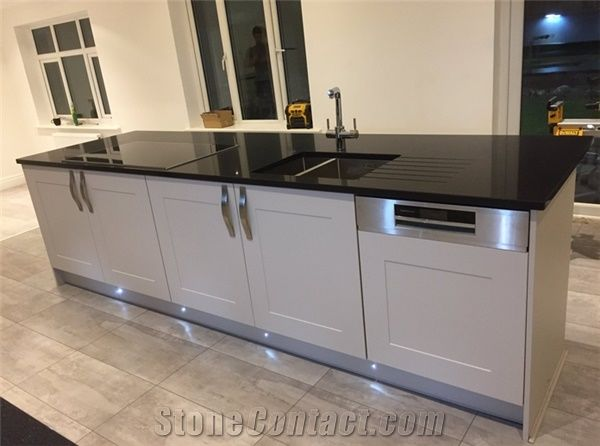 kitchen table top hape black mirror quartz starlight stone bench or laundry room worktop thickness 2cm 3cm with high gloss and hardness
