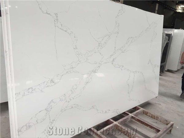 Calacatta White Quartz Stone Slabs White Quartz Slab from