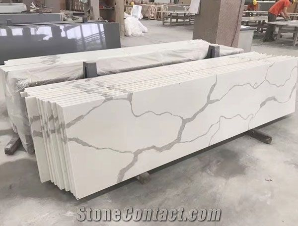 Statuario Maximus Artificial Marble Countertop Slab For Kitchen Top