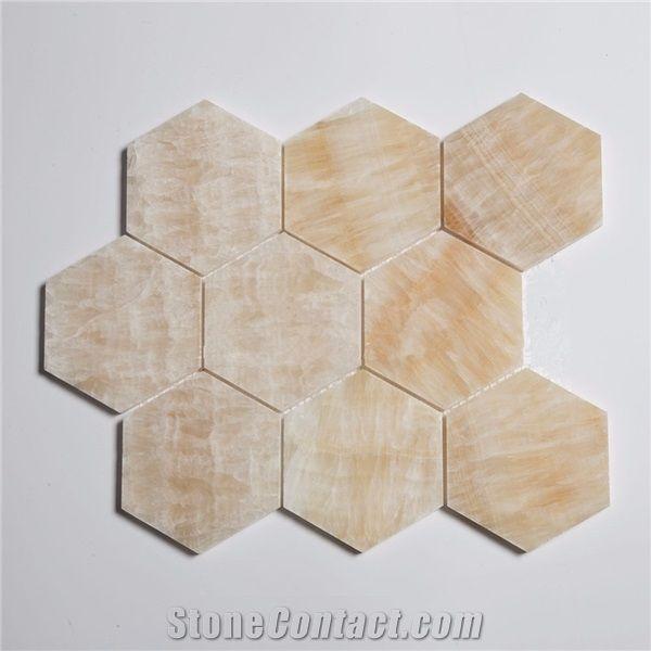 3 inch yellow onyx mosaic hexagon stone