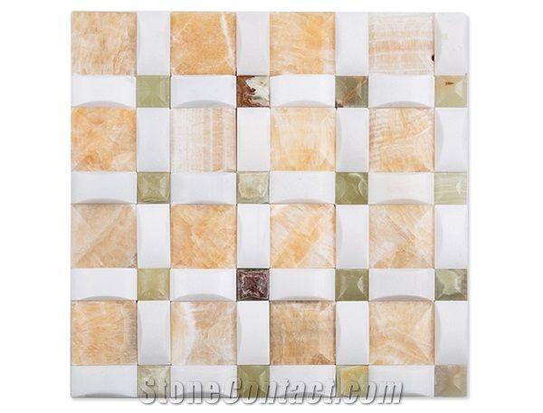 3d design marble onyx mosaic tile for