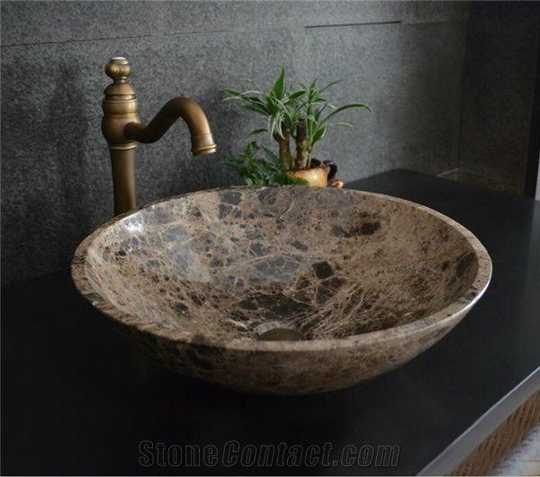 light emperador round marble basin