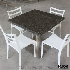 Custom Restaurant Tables And Chairs Gray Swivel Chair Made Artificial Marble Solid Surface Small Dining Table Low Maintenance Acrylic