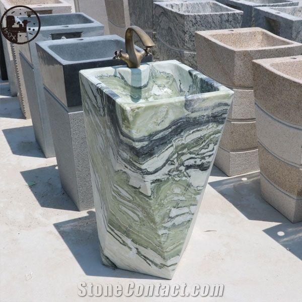 marble ice green square basins diamond