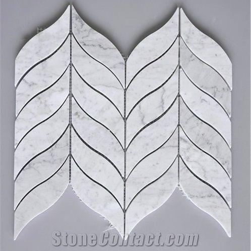 bianco carrara white marble leaf mosaic