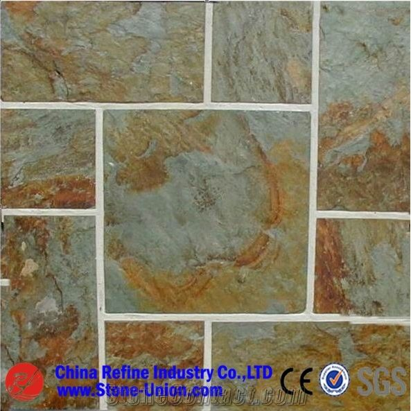 rusty green slate slabs tiles china
