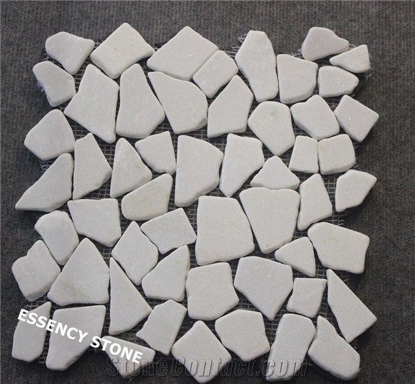 random cut pure white marble mosaic