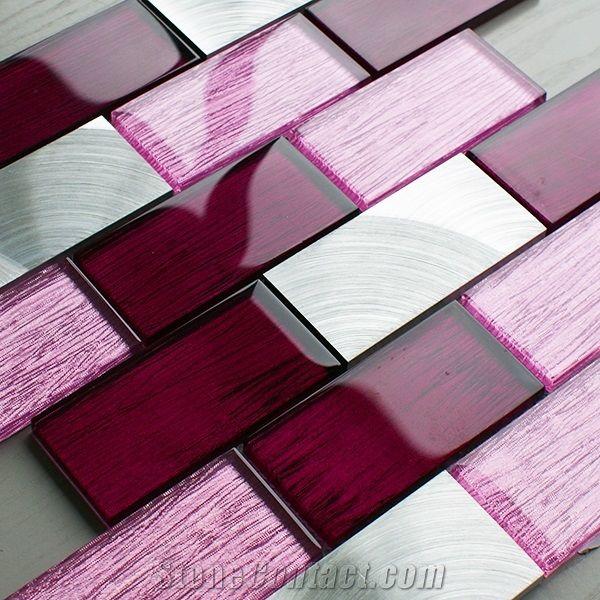 pink glass metal brick mosaic wall tile