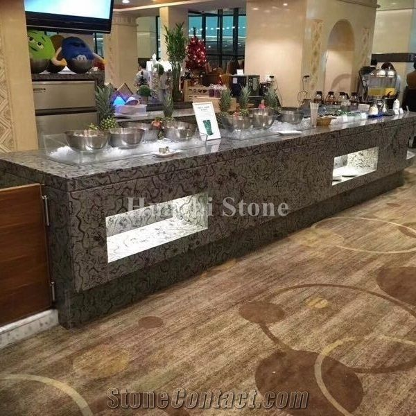 oracle wooden grey marble bar top