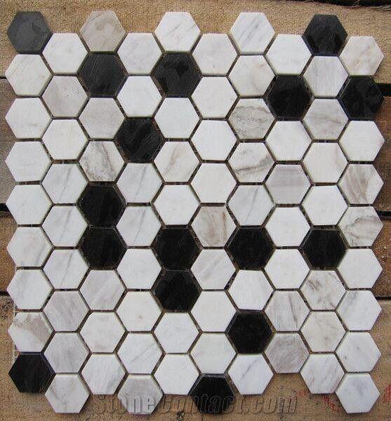 calacatta gold black marble hexagon