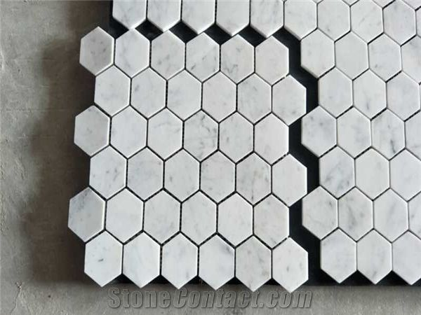 bianco carrara white marble hexagon