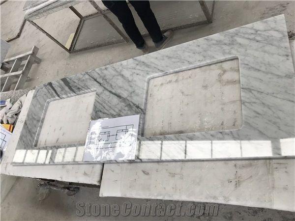 22x61 double sink carrara white marble