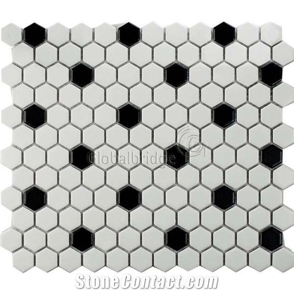 hexagon black and white ceramic mosaic