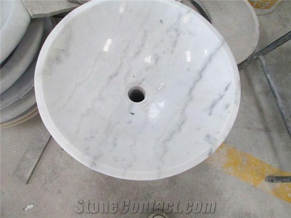 guangxi white marble bath round vessel