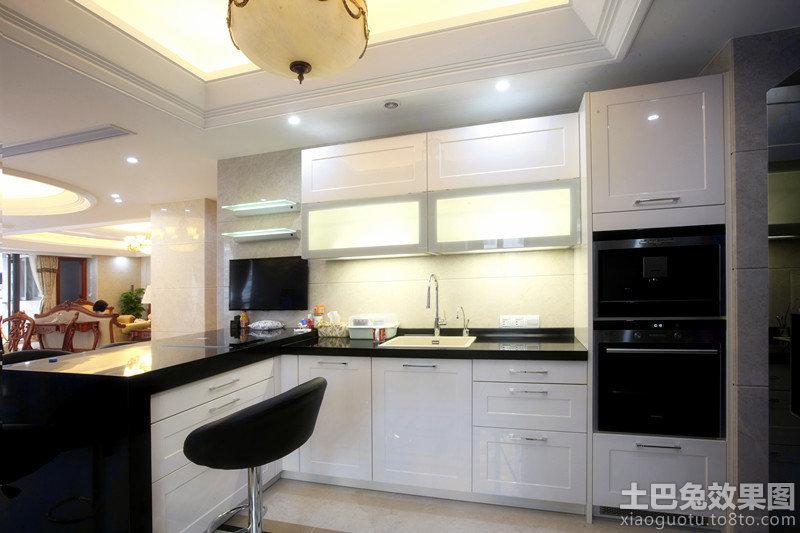 kitchen cabinets white yellow chairs 整体厨房厨柜效果图_土巴兔装修效果图