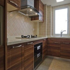 Wood Kitchen Set Cabinates 胡桃木整体厨房橱柜效果图_土巴兔装修效果图