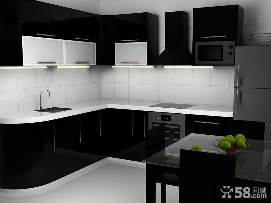 kitchen black cabinets keen shoes 黑白简约厨房装修效果图黑色橱柜效果图 58装修效果图