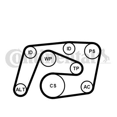 Multiriem (poly v-riem) kit voor de Mercedes E (W211) 2.2