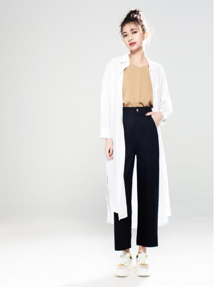 簡約長版襯衫-白 - 襯衫 - AVILAS/4REASON 提領時尚