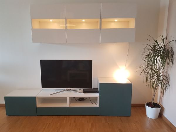 Wohnwand Ikea Besta Hangeschranke Lowboard Tv