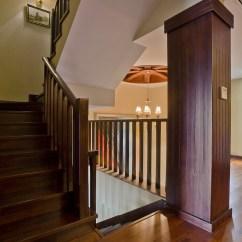 Kitchen Wood Cabinets Modern Canisters 美式风格别墅室内全木楼梯间装修效果图 – 设计本装修效果图