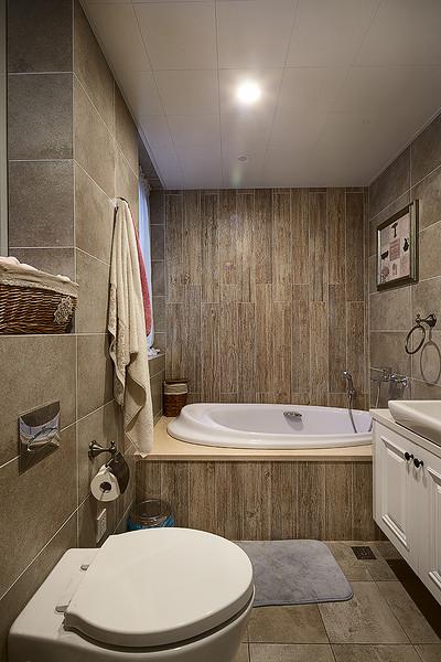 kitchen tile floor scratch resistant sinks 木纹砖整体卫生间装潢_土巴兔装修效果图