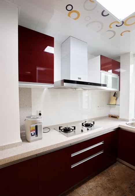grey kitchen countertops buy used cabinets 厨房l型红色橱柜瓷砖台面装修效果图_土巴兔装修效果图