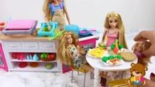 barbie kitchen playset countertop prices 芭比娃娃厨房玩具芭比娃娃请客芭比娃娃长发公主玩具 母婴 高清正版视频 芭比娃娃厨房玩具